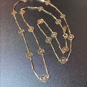 """Avon Vintage Gold Flower Link Necklace 26"""""""
